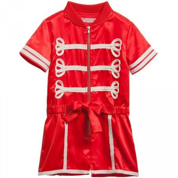 Stella McCartney Kids Girls Red Satin 'Mel' Playsuit