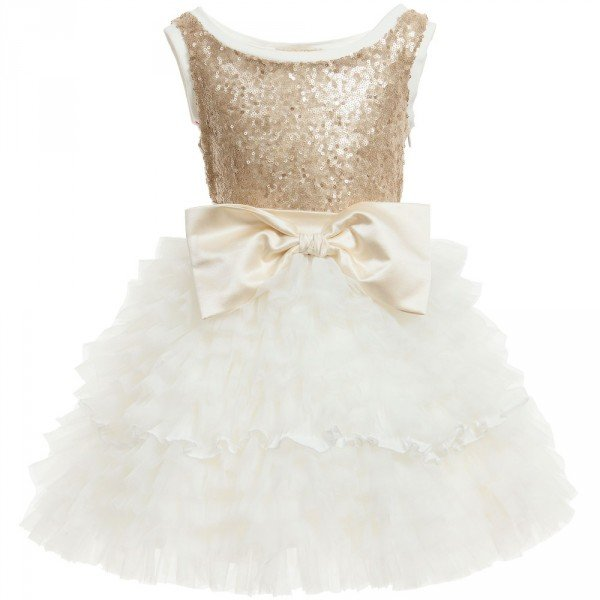 Monnalisa Gold Sequin & Tulle Dress