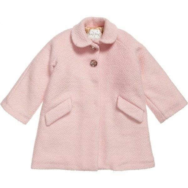 Rachel Riley Pink Boucle Wool Coat