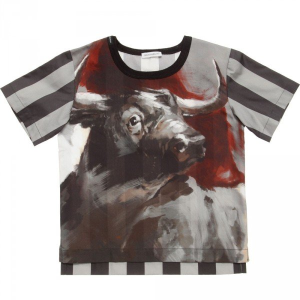 Dolce & Gabbana Boys Grey Striped Bull Cotton Top