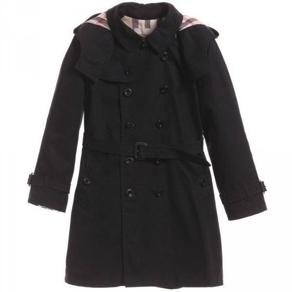 Burberry Boys Black Classic Trench Coat