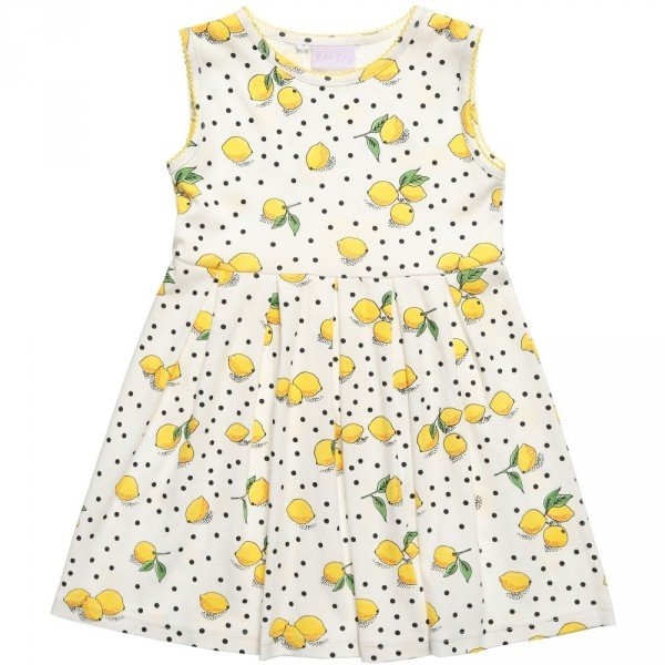 Rachel Riley Ivory Lemon Print Cotton Dress