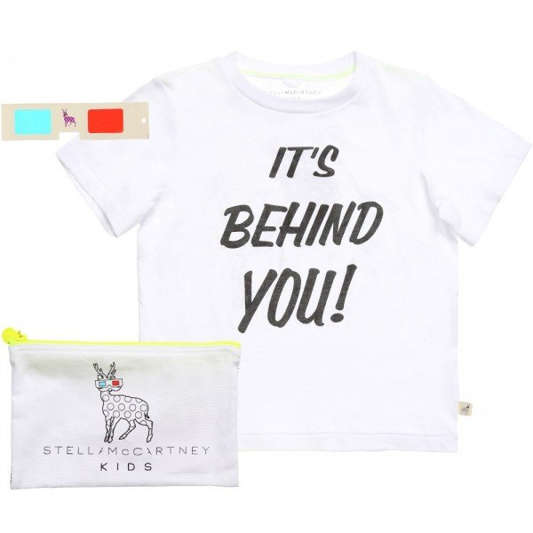 Stella McCartney Kids Boys White Cotton 3D Shark 'Arlo' T-Shirt