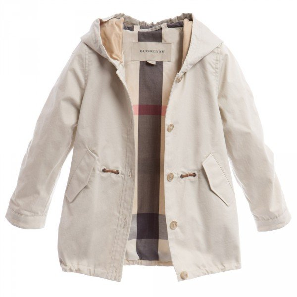 Burberry Girls Beige Lightweight Parka Coat