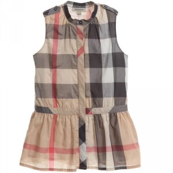 Burberry Beige Nova Check Sleeveless Dress