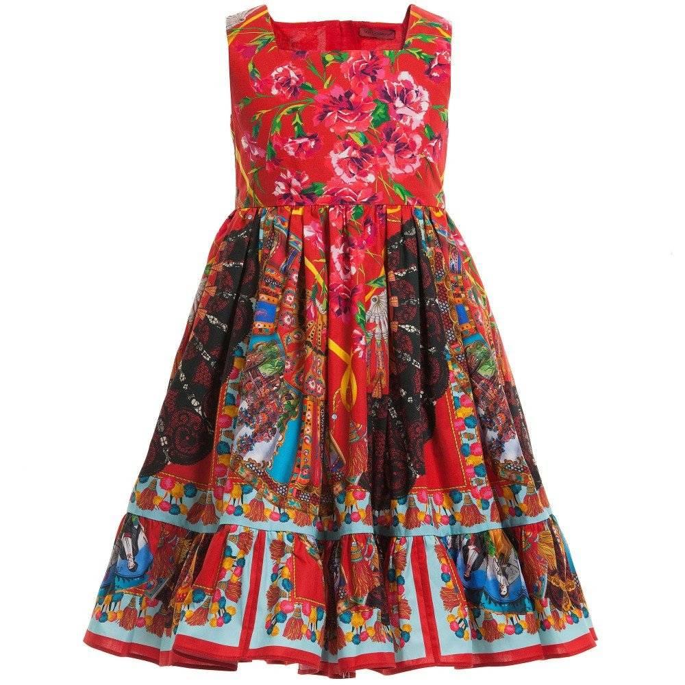 Dolce & Gabbana Red 'Fan Print' Cotton Poplin Dress