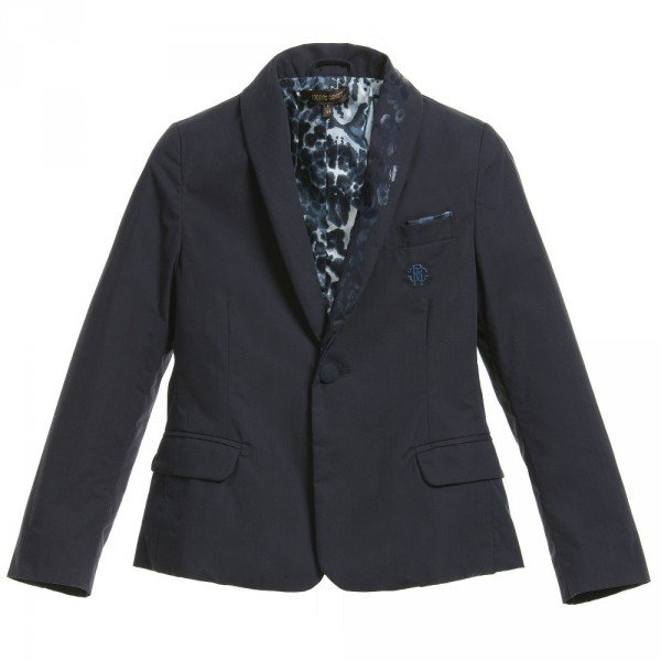 Roberto Cavalli Boys Navy Blue Cotton Blazer