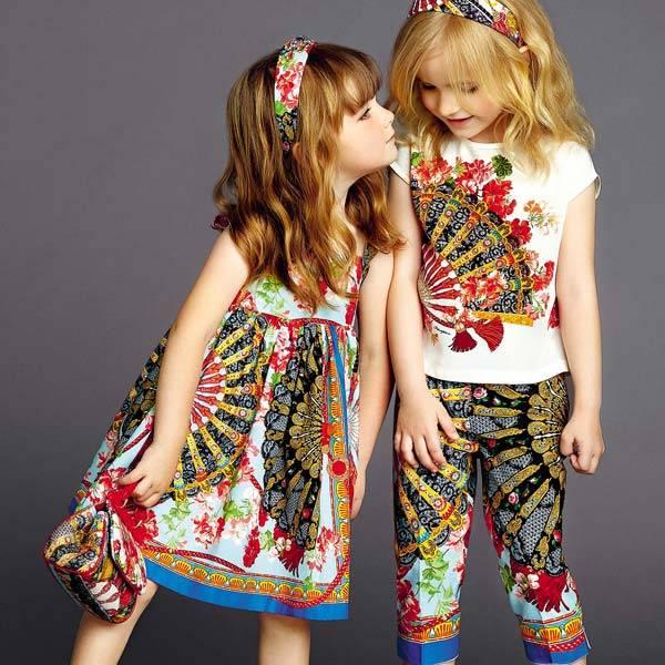 Dolce and Gabbana Girls Fan Dress ss15