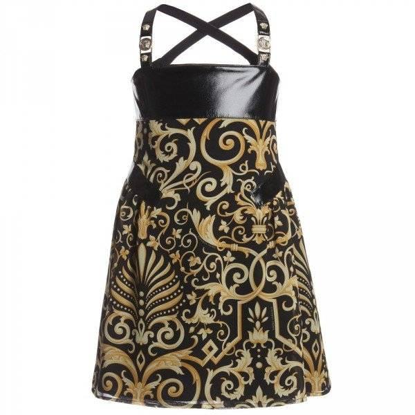 Young Versace Black Silk & Gold Chiffon Baroque Print Dress
