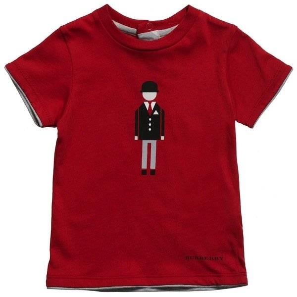 BURBERRY Boys Red English Gentleman T-Shirt