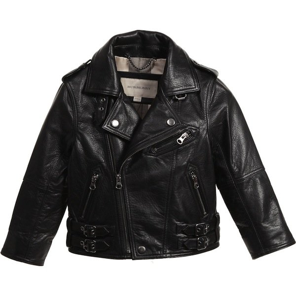 BURBERRY Kids Unisex Black Leather Biker Jacket