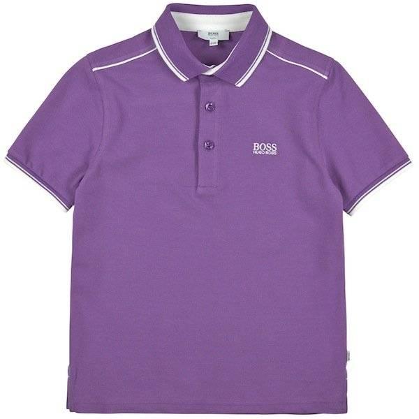 Boss Boys Cotton Pique Purple Polo Shirt