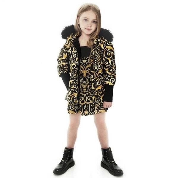 shop look YOUNG VERSACE Black Silk & Gold Chiffon Baroque Print Dress