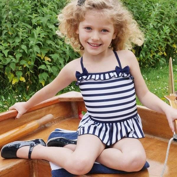 Rachel Riley Navy Blue & White Striped Swimsuit