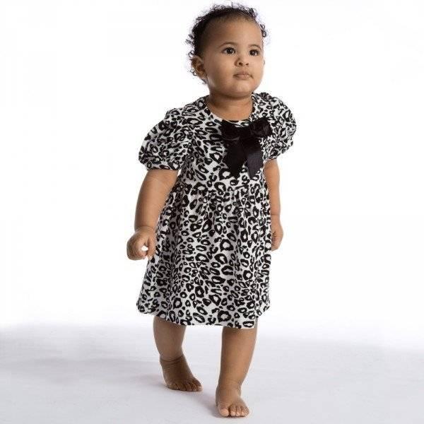 THE TINY UNIVERSE Black 'Tiny Snow Leopard' Jersey Dress